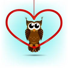 Free Cute Owl Valentine S Day Card Royalty Free Stock Photos - 36292778