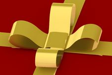 Free Gold Ribbon On Red Present Stock Image - 3631921