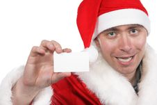 Santa Show Blank Visiting Card Royalty Free Stock Photography