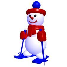 3d Snow Man Ski Royalty Free Stock Photo