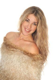 Gorgeous Woman In Fur On White Angle Royalty Free Stock Photos