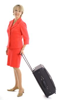 Free Woman With Luggage On White Vertical Royalty Free Stock Image - 3637146