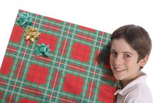 Free Young Boy Holding BIG Present Stock Photography - 3637222