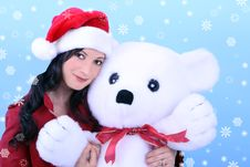 Free Young Woman And Teddy Bear Royalty Free Stock Image - 3638826