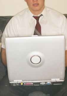 Free Young Man Typing On Laptop Royalty Free Stock Photos - 3639158