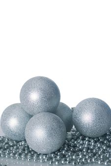 Silver Christmas Balls Stock Photo