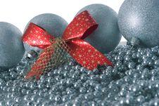 Free Silver Christmas Balls And Red Ribbon Stock Image - 3639521