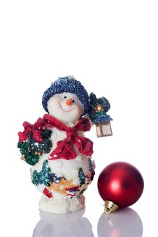 Snowman And Red Christmas Ball Royalty Free Stock Image