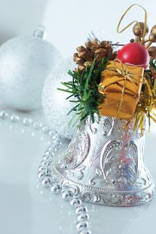 Free Christmas Bell And Christmas Balls Royalty Free Stock Photos - 3639638