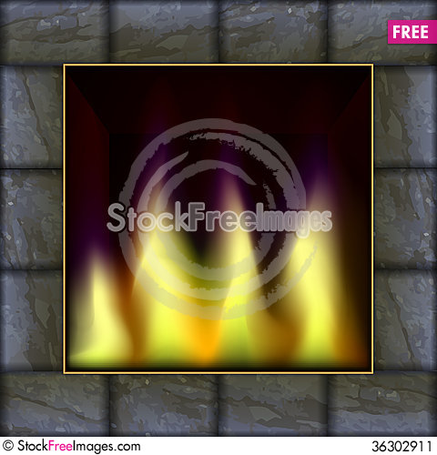 Free Vector Illustration Of Fire In The Fireplace Stock Image - 36302911