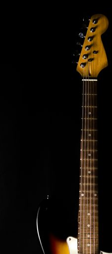 Electric Guitar Neck And Head Detail Stock Photos