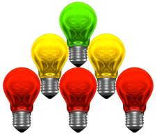 Free Pyramid Of Red, Yellow And Green Light Bulbs Royalty Free Stock Photos - 36300788
