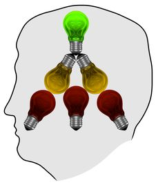 Free Silhouette With Red, Yellow And Green Light Bulbs In Mind Stock Photo - 36300800