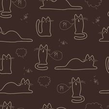 Free Seamless Pattern With Sketches Of Cats Stock Image - 36304421