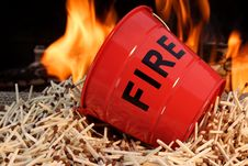Free Fire Bucket, Matches And Flames Stock Image - 36307871