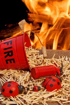Free Fire Bucket, Matches And Flames Stock Photos - 36307943