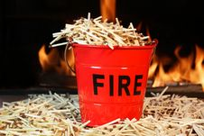 Free Fire Bucket, Matches And Flames Royalty Free Stock Image - 36309386