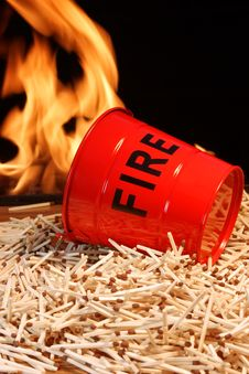 Free Fire Bucket, Matches And Flames Stock Photography - 36309562