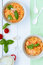 Free Two Bowls Of Italian Pasta With Tomato And Basil Stock Images - 36300664