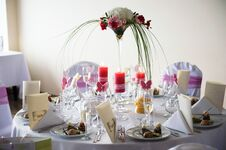 Table Decorated With Pink Elements Stock Photo