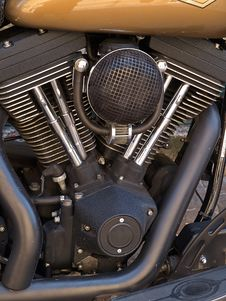 Motorcycle Bike Chrome Engine And Exhaust Royalty Free Stock Images