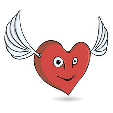 Free Illustration Merry Heart With Wings Royalty Free Stock Images - 36316709