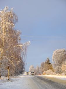 Free Country Road In Winter With Sunshine On Trees Royalty Free Stock Images - 36317359