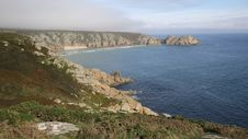 Coast Of Cornwall England In Autumn With Mist