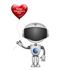 Free Robot With Balloon Heart. Vector Royalty Free Stock Image - 36318546