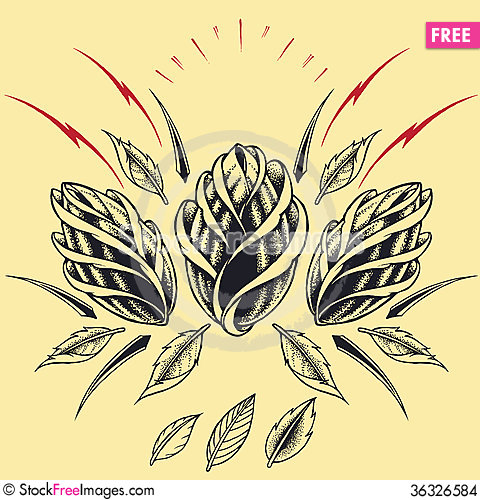 Free Roses Oldskool Tattoo Style Elements 01 Stock Images - 36326584