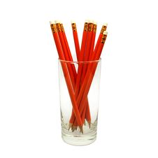 Pencils In Glass Jars On White Stock Image