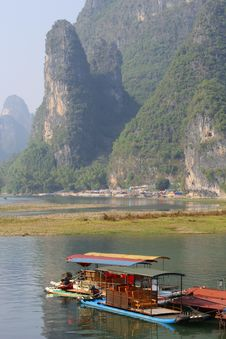 Free Rafting Boats In Karst Mountains,Yangshuo,China Stock Photo - 36332030