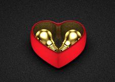 Golden Ideas For Present In Saint Valentine S Day Stock Images
