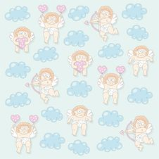 Free Cupid Seamless Pattern Royalty Free Stock Images - 36336319