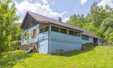 Country Cottage In Blue Colour Stock Photography