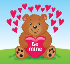 Free Valentine S Bear Holding A Heart Stock Image - 36341551