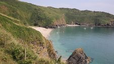 Secluded Beach Lantic Bay Cornwall England Stock Images