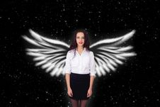 Free Girl With Angel Wings Stars Stock Photography - 36345822