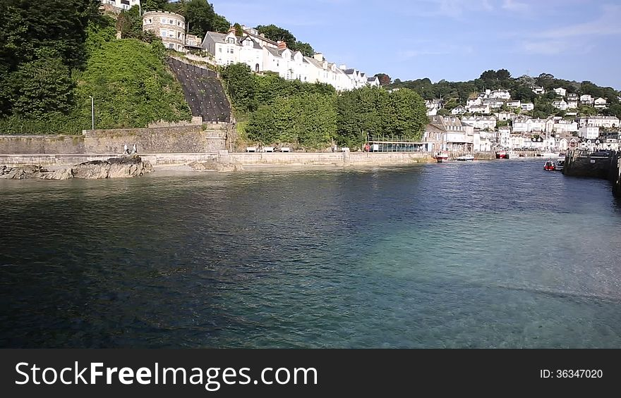 Looe town and river Cornwall England,