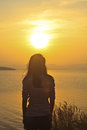 Free Young Girl And Sunset Scene Stock Photography - 36355742
