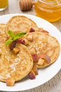 Free Homemade Pancakes With Peaches And Honey For Breakfast, Vertical Stock Photo - 36358070