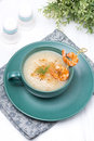 Free Potato Cream Soup With Glazed Shrimp On A Skewer Royalty Free Stock Photo - 36358145
