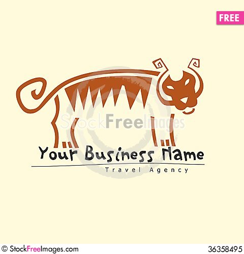 Free Tiger Logo For Travel Agency Royalty Free Stock Photo - 36358495