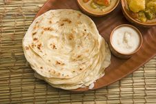 Potato Paratha With Potato Masala Curry Stock Images