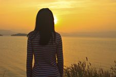 Free Young Girl And Sunset Scene Stock Photos - 36356183