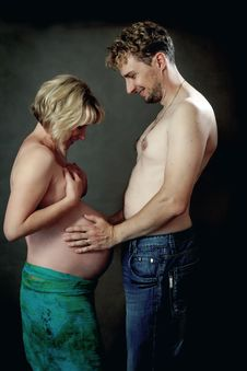Loving Happy Couple, Pregnant Woman With Husband Royalty Free Stock Photos