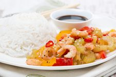 Free Chinese Food, White Rice And Vegetables With Shrimp, Close-up Stock Photos - 36357993
