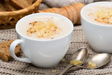 Cream Soup Of Cauliflower With Cheese And Pepper Stock Photography