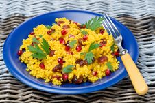 Free Couscous Salad With Curry, Dried Cranberries And Herbs Royalty Free Stock Photo - 36358025