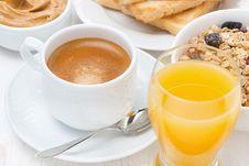 Free Freshly Brewed Espresso, Orange Juice And Muesli For Breakfast Stock Image - 36358041